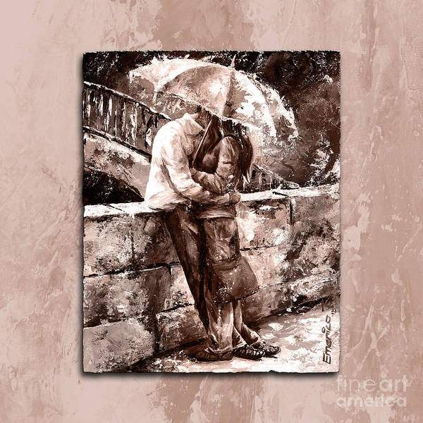 Girlfriend Painting - Rainy Day - Love In The Rain Style Mistyrose by Emerico Imre Toth