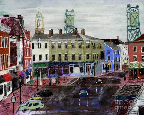 Rainy Day On Market Square Art Print