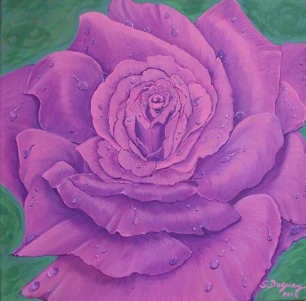 Wall Art - Painting - Rainy Day Rose by Sharon Duguay