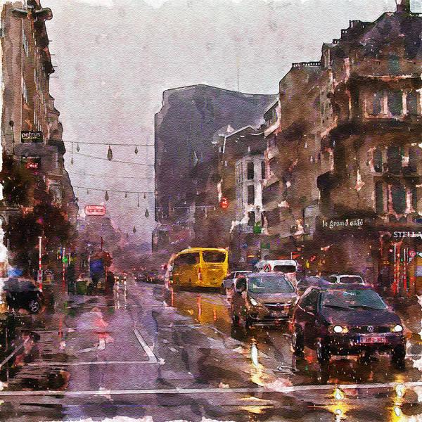Outdoors Mixed Media - Rainy Day Traffic by Marian Voicu