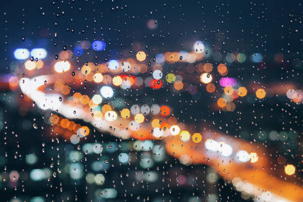 Photograph - Rainy Day Window With Defocused Lights by Miragec