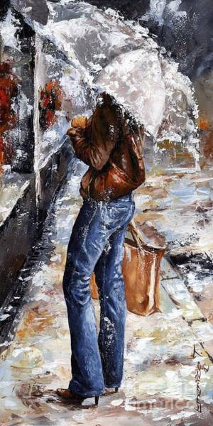 Wall Art - Painting - Rainy Day - Woman Of New York 15 by Emerico Imre Toth