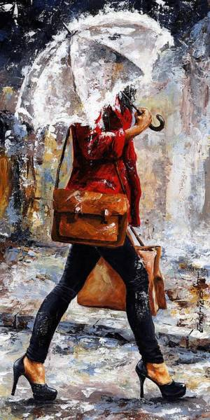 Shopping Painting - Rainy Day - Woman Of New York 17 by Emerico Imre Toth