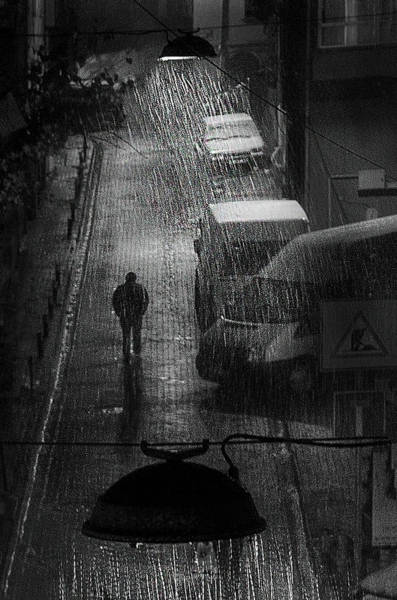 Alley Photograph - Rainy Man by Nihal Eken