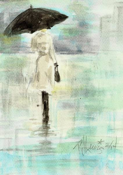 Walking In The Rain Wall Art - Painting - Rainy Monday by PJ Lewis