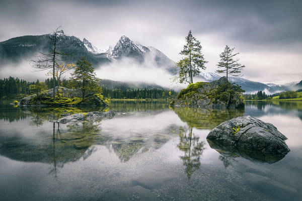 Clear Photograph - Rainy Morning At Hintersee (bavaria) by Dirk Wiemer