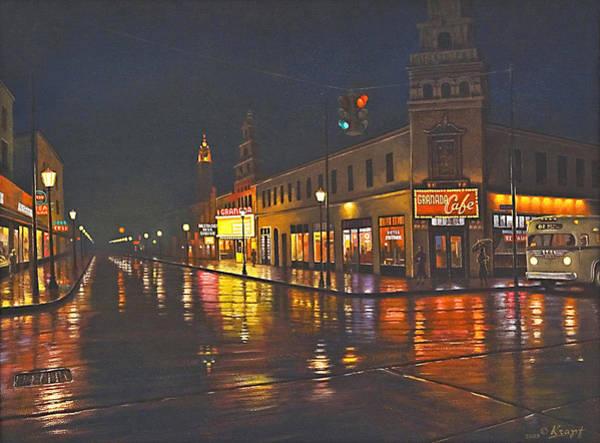 Street Scenes Wall Art - Painting - Rainy Night-117th And Detroit     by Paul Krapf