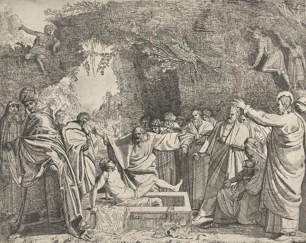 Bystander Drawing - Raising Of Lazarus, Gerrit Bleker by Gerrit Bleker And Claes Jansz. Visscher (ii)