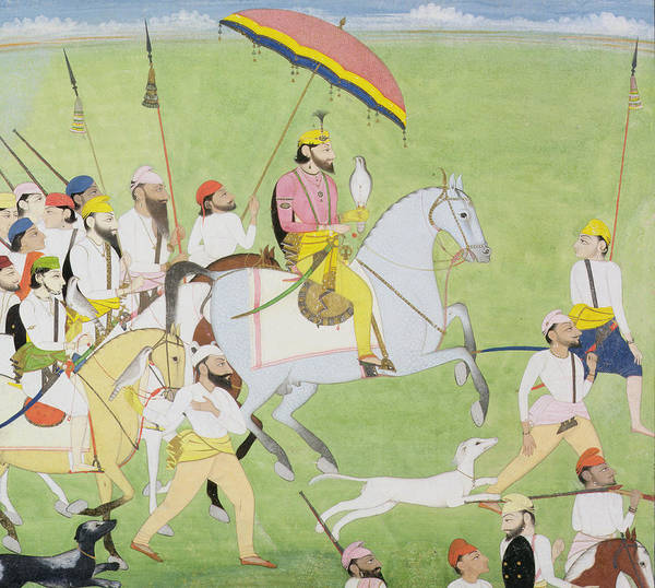 Steed Painting - Rajah Dhian Singh Hunting by Indian School