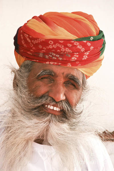 Photograph - Rajastan Indian Man With Long White Beard And Colorful Turban by Jo Ann Tomaselli