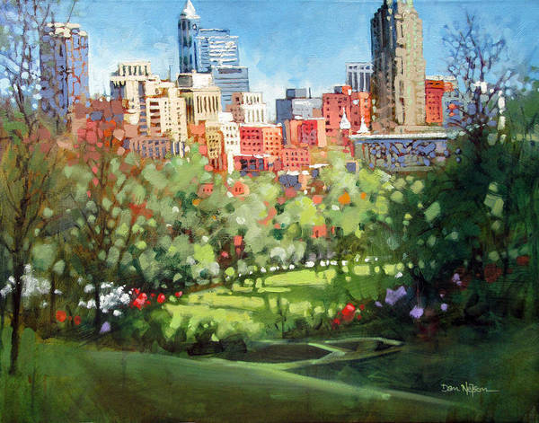 Wall Art - Painting - Raleigh Spring Skyline by Dan Nelson
