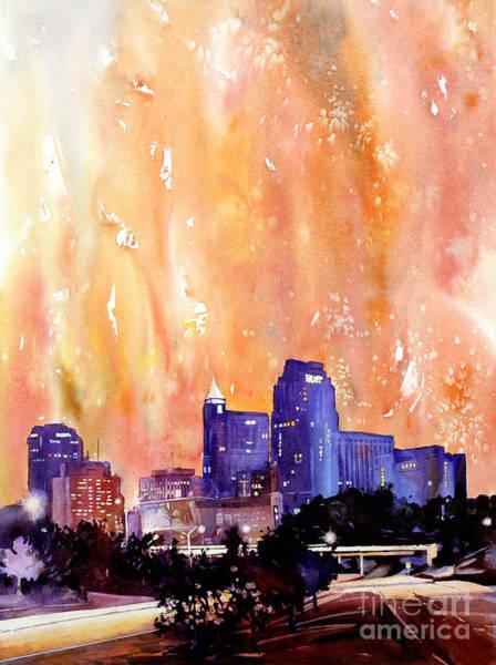 Downtown Raleigh Wall Art - Painting - Raligh Skyline Sunset by Ryan Fox