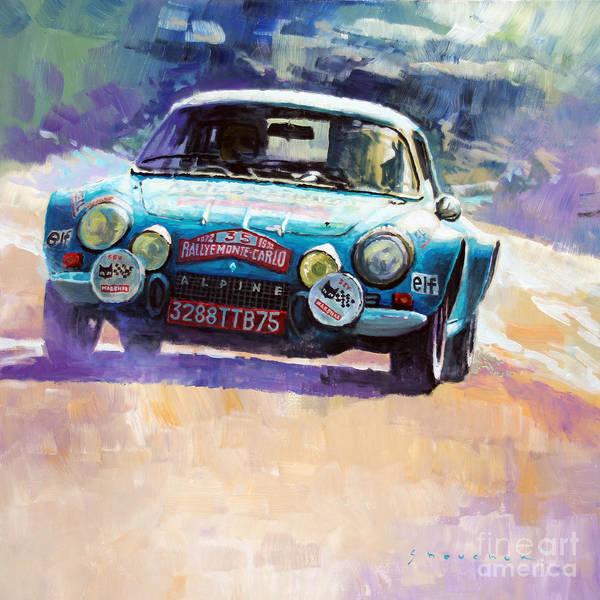 Wall Art - Painting - Rally Monte Carlo 1972 Alpine-renault A110 1600  by Yuriy Shevchuk