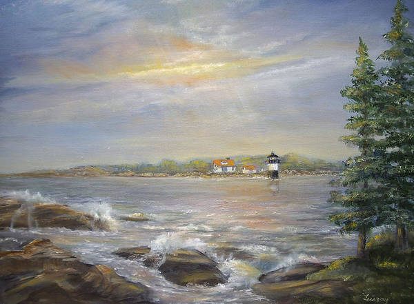 Painting - Ram Island Lighthouse Main by Katalin Luczay
