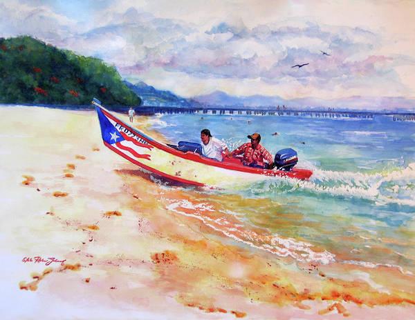 Acuarela Painting - Rampeando At Crashboat Beach Aguadilla Puerto Rico by Estela Robles Galiano