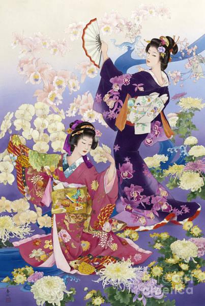 Japanese Art Digital Art - Ran Kiku by MGL Meiklejohn Graphics Licensing