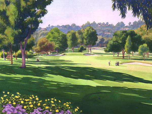 Course Wall Art - Painting - Rancho Santa Fe Golf Course by Mary Helmreich