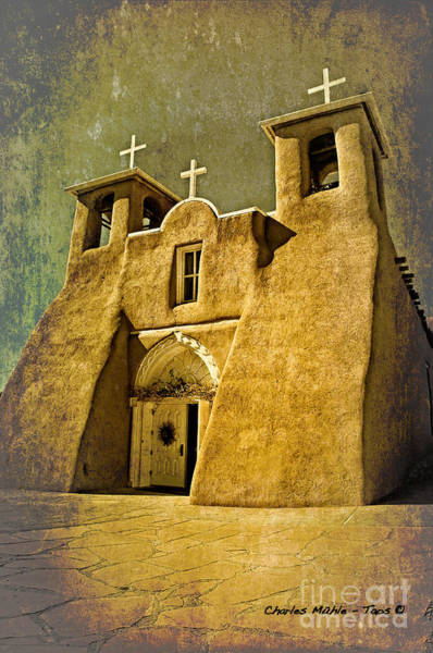 Mixed Media - Ranchos Church In Old Gold by Charles Muhle