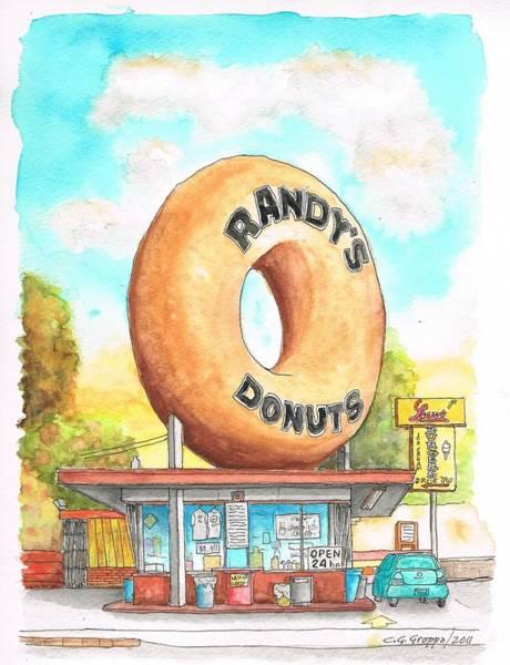 Googie Wall Art - Painting - Randy's Donuts In Los Angeles - California by Carlos G Groppa
