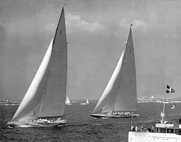 Americas Cup Photograph - Ranger Leads Endeavour by Underwood Archives