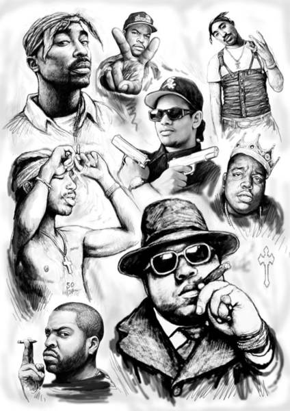 Group Painting - Rap Group Drawing Art Sketch Poster by Kim Wang