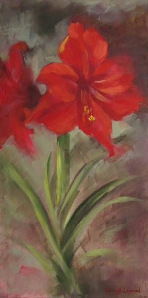 Red Amaryllis Painting - Rapture by Karin  Leonard