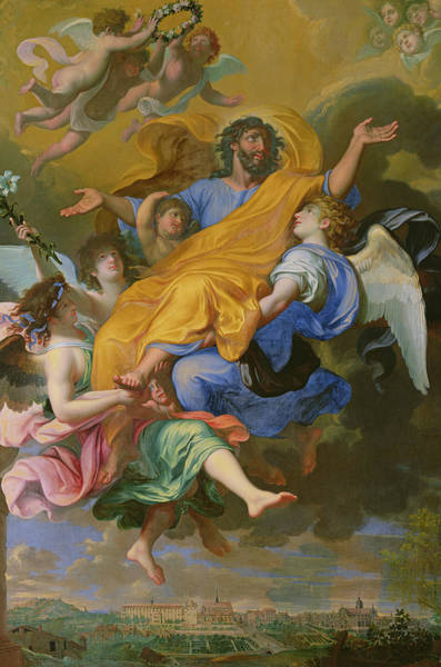 Father Sky Wall Art - Painting - Rapture Of Saint Joseph by French School