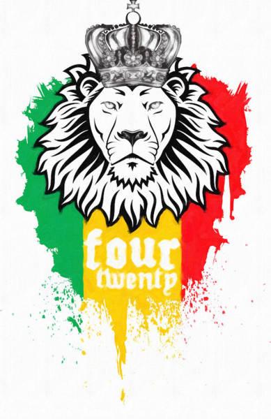 Rasta Painting - Rasta Lion Of 420 by MotionAge Designs