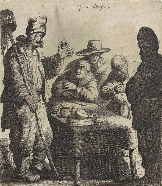 Bystander Drawing - Rat Poison Seller by Jan Gillisz. Van Vliet