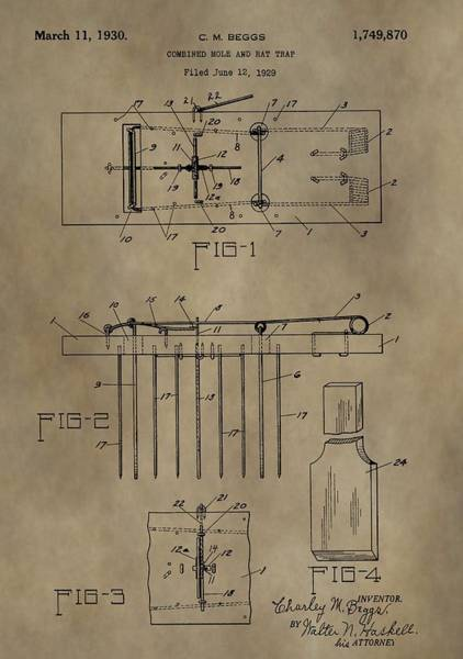 Poison Mixed Media - Rat Trap Patent by Dan Sproul