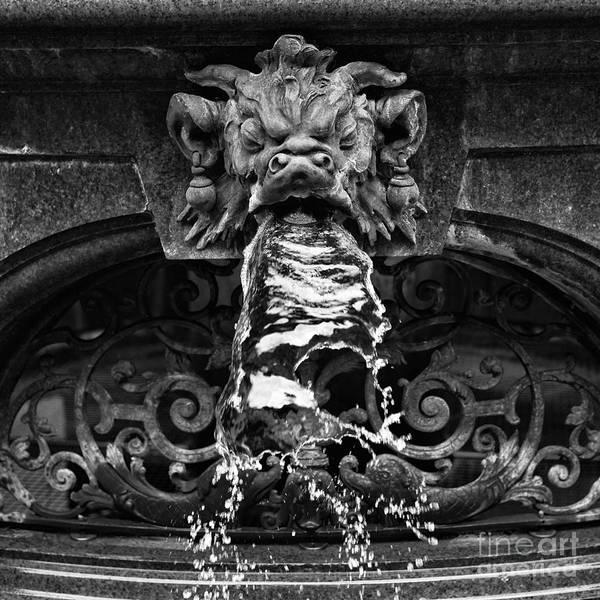 Rathaus Photograph - Rathaus Fountain Head Mono by John Rizzuto