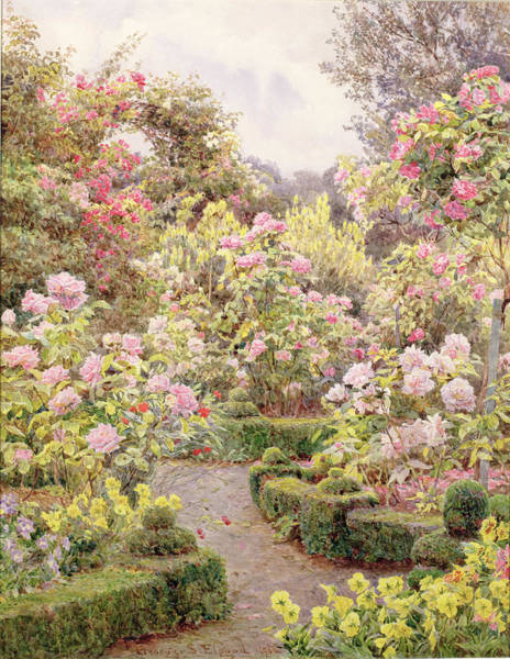 Wall Art - Painting - Raundscliffe - Everywhere Are Roses by George Samuel Elgood