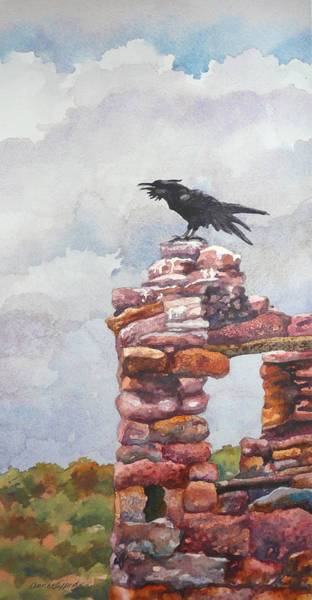 Ravens Painting - Raven At Hovenweep by Anne Gifford