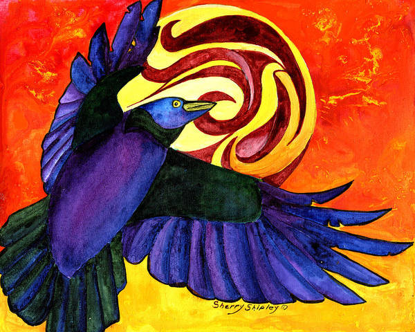 Painting - Raven Flight by Sherry Shipley
