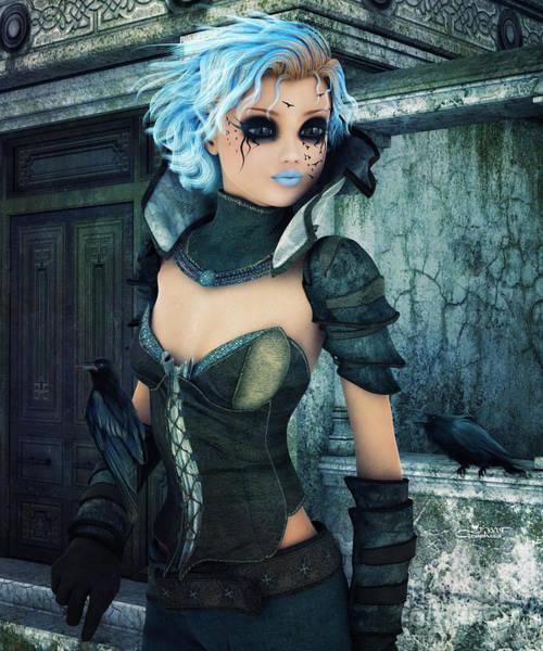 Outfit Digital Art - Raven Girl by Jutta Maria Pusl