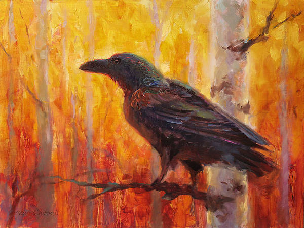 Painting - Raven Glow Autumn Forest Of Golden Leaves by Karen Whitworth