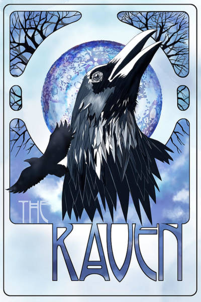 Full Moon Painting - Raven Illustration by Sassan Filsoof