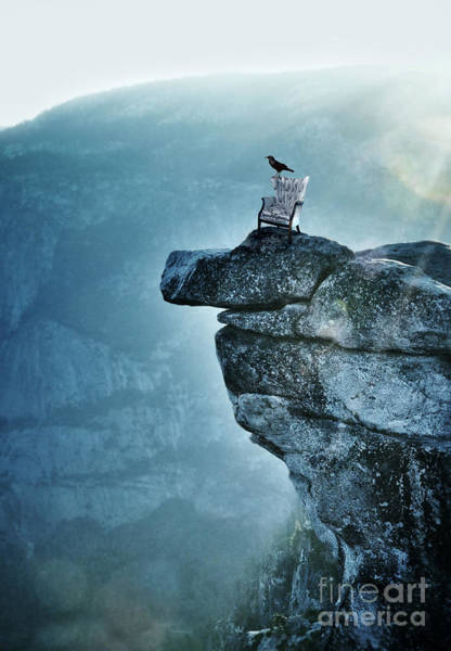 Wing Back Photograph - Raven On A Chair On A Cliff by Jill Battaglia