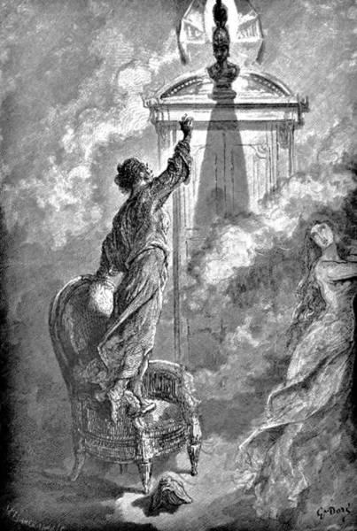 Raven Drawing - Raven On Bust Edgar Allan Poe Illustration by