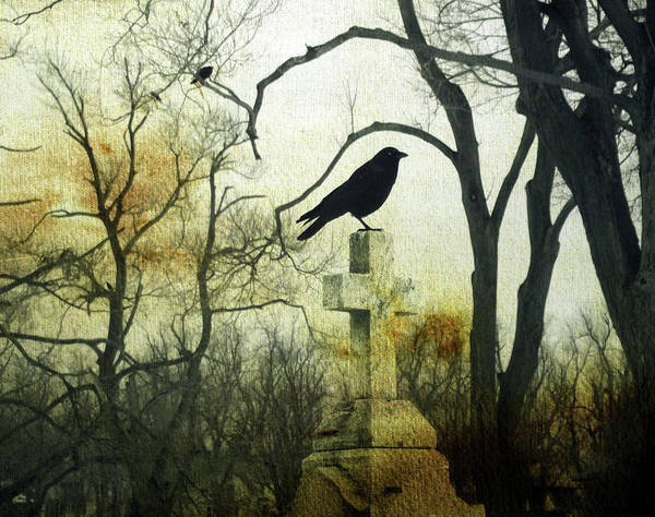 Starlings Digital Art - Raven On Cross by Gothicrow Images