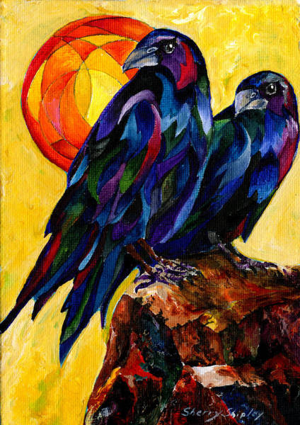Painting - Raven Pair by Sherry Shipley