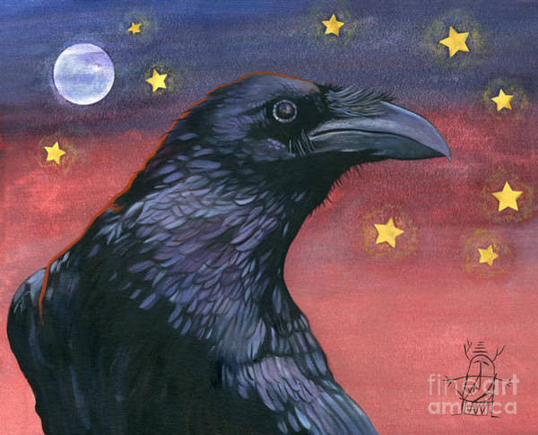 Wall Art - Painting - Raven Steals The Moon - Moon What Moon? by J W Baker