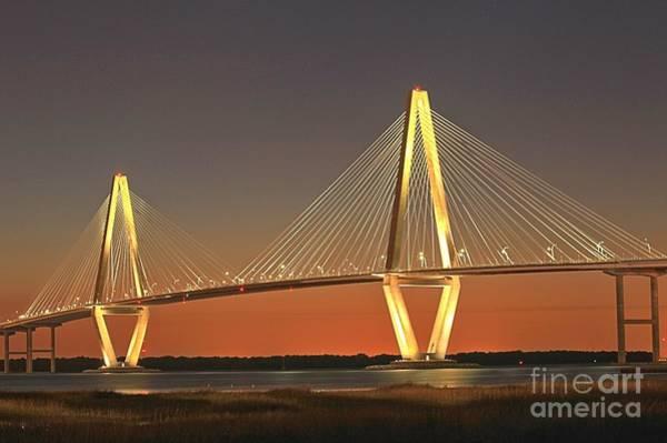 Photograph - Ravenel Bridge At Dusk by Adam Jewell