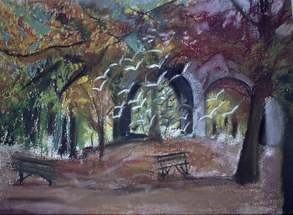 Heath Photograph - Ravenscourt Park, London Oil Pastel On Paper by Sophia Elliot