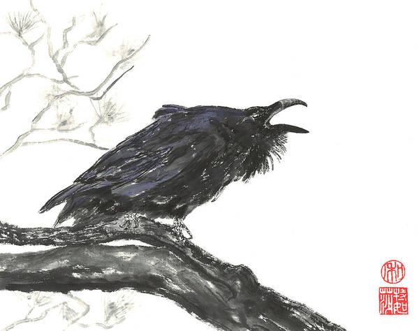 Wall Art - Painting - Raving Raven by Terri Harris