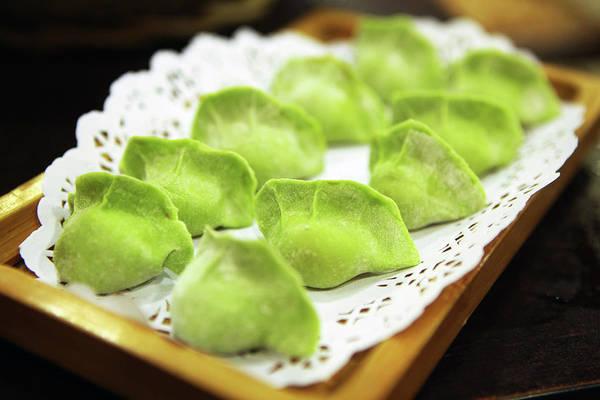 Tray Photograph - Raw Green Dumplings For Hot Pot by Digipub
