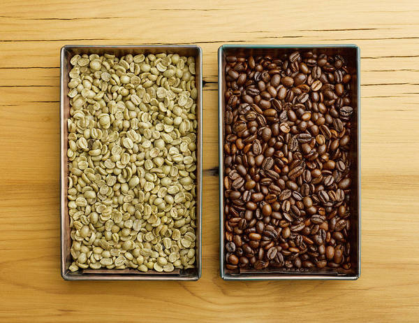 Tray Photograph - Raw Vs Roasted Coffee Beans In Trays by Jeffrey Coolidge