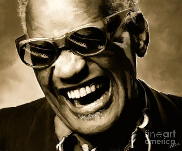 Shower Curtain Painting - Ray Charles - Portrait by Paul Tagliamonte