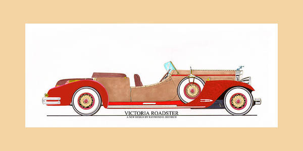 Classic Car Drawings Painting - Ray Dietrich Packard Victoria Roadster Concept Design by Jack Pumphrey