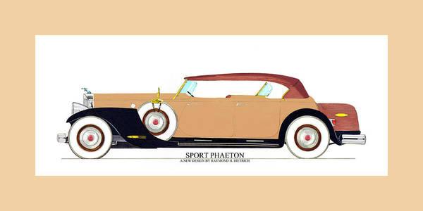 Classic Car Drawings Painting - Raymond H Dietrich Packard Sport Phaeton Concept by Jack Pumphrey